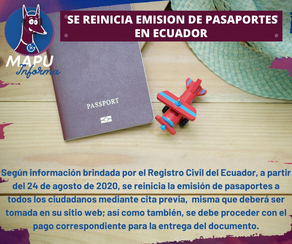 Se reinicia emisión de pasaportes en Ecuador.