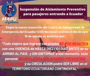 Suspensión de Aislamiento Preventivo para Pasajeros viajando a Ecuador